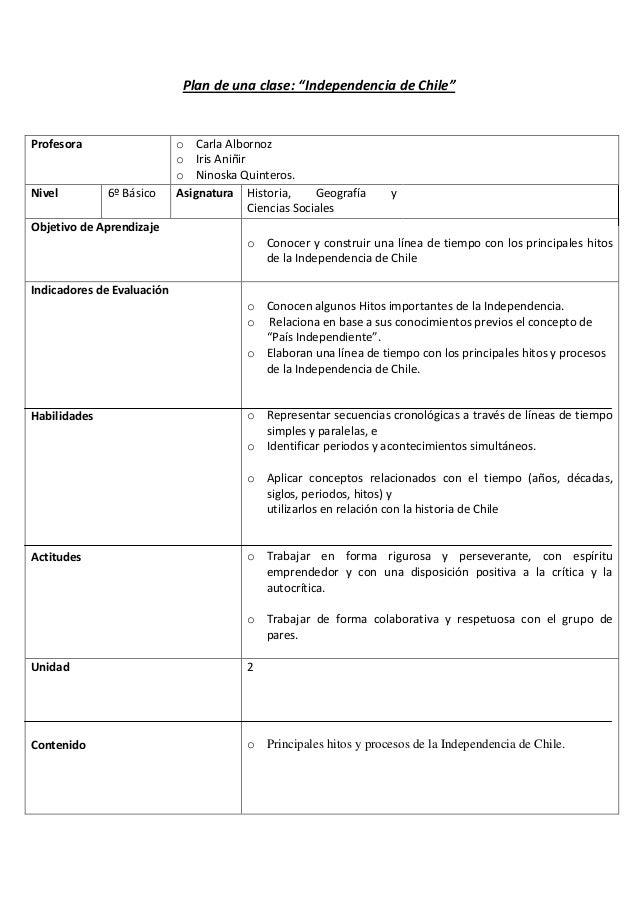 """Plan de una clase: """"Independencia de Chile""""  Profesora  Nivel  6º Básico  o Carla Albornoz o Iris Aniñir o Ninoska Quinter..."""