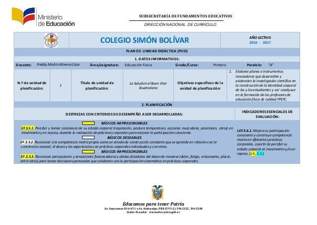 Plan de Unidad Didáctica(PUD), Prof. Freddy Moreno 2016-2017