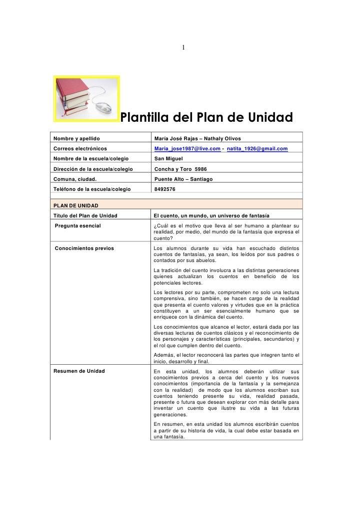 1                            Plantilla del Plan de UnidadNombre y apellido                 María José Rajas – Nathaly Oliv...