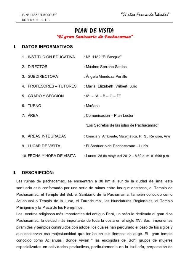 """I. E. Nº 1182 """"EL BOSQUE""""                                         """"47 años Formando Talentos""""           UGEL Nº 05 – S. J...."""