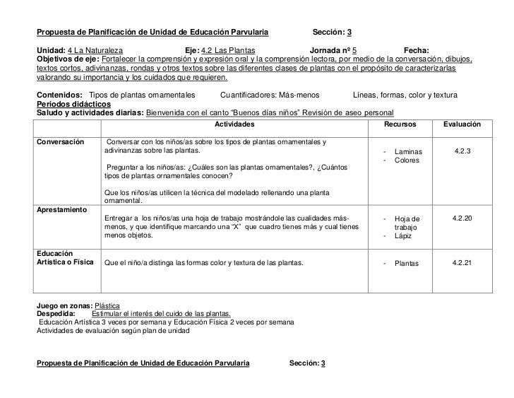 Plan didáctico de parvularia unidades 4 y 5