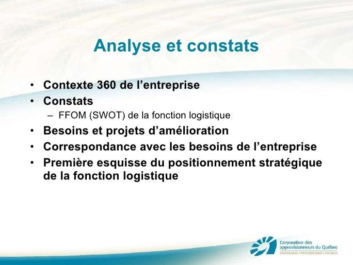 Analyse et constats <ul><li>Contexte 360 de l'entreprise </li></ul><ul><li>Constats </li></ul><ul><ul><li>FFOM (SWOT) de l...