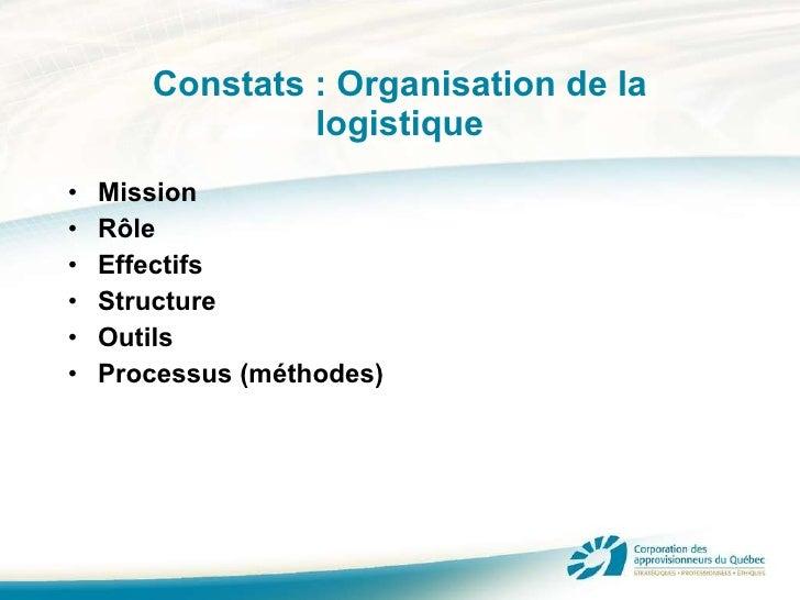 Constats : Organisation de la logistique <ul><li>Mission </li></ul><ul><li>Rôle </li></ul><ul><li>Effectifs </li></ul><ul>...