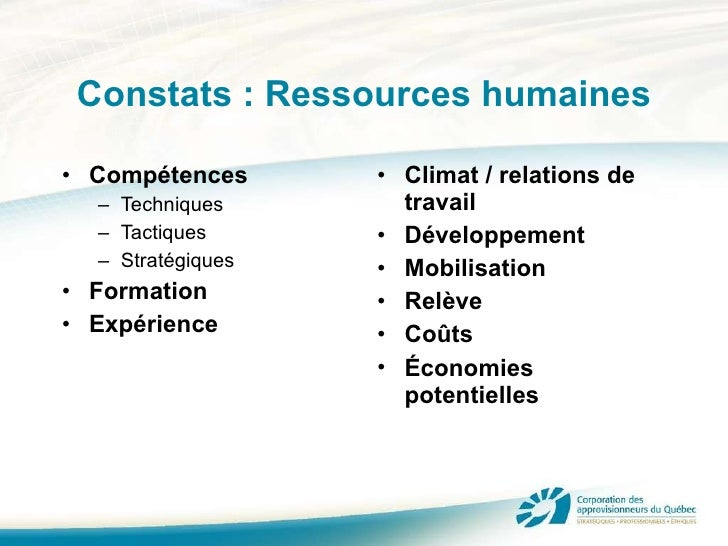 Constats : Ressources humaines <ul><li>Compétences </li></ul><ul><ul><li>Techniques </li></ul></ul><ul><ul><li>Tactiques <...