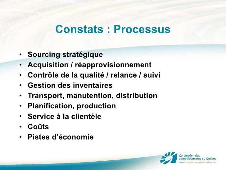 Constats : Processus <ul><li>Sourcing stratégique </li></ul><ul><li>Acquisition / réapprovisionnement </li></ul><ul><li>Co...