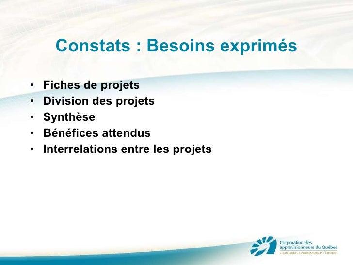 Constats : Besoins exprimés <ul><li>Fiches de projets </li></ul><ul><li>Division des projets </li></ul><ul><li>Synthèse </...