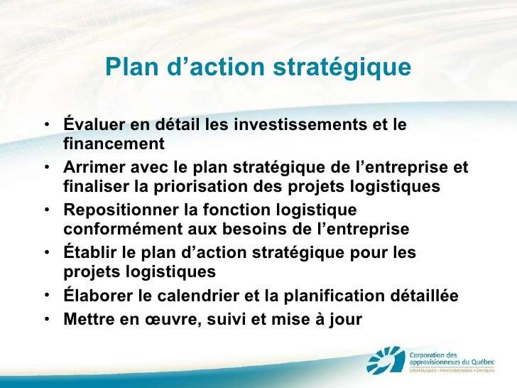 Plan d'action stratégique <ul><li>Évaluer en détail les investissements et le financement </li></ul><ul><li>Arrimer avec l...