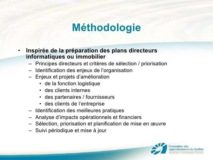 Méthodologie <ul><li>Inspirée de la préparation des plans directeurs informatiques ou immobilier </li></ul><ul><ul><li>Pri...
