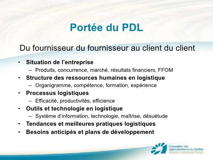 Portée du PDL <ul><li>Situation de l'entreprise </li></ul><ul><ul><li>Produits, concurrence, marché, résultats financiers,...