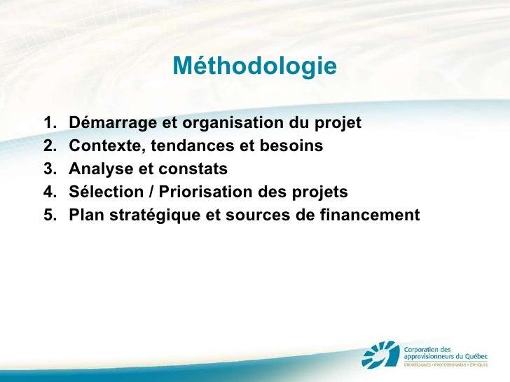 Méthodologie <ul><li>Démarrage et organisation du projet </li></ul><ul><li>Contexte, tendances et besoins </li></ul><ul><l...
