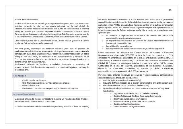 30 por el Cabildo de Tenerife. En dichas infraestructuras se incluye por ejemplo el Proyecto ALIX, que tiene como objetivo...