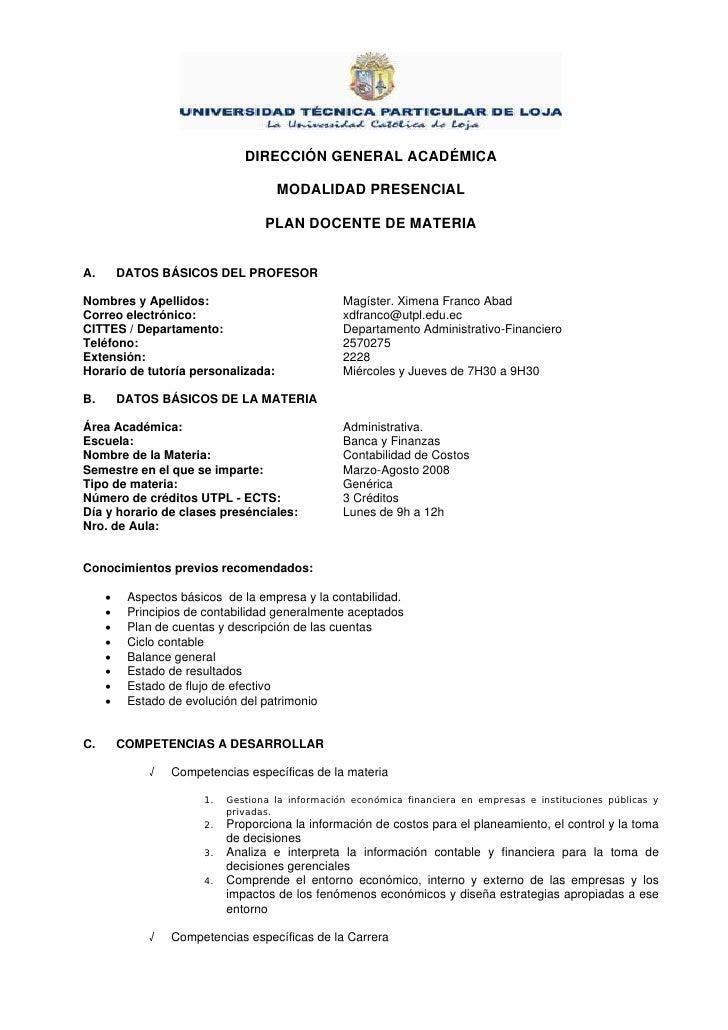 DIRECCIÓN GENERAL ACADÉMICA                                       MODALIDAD PRESENCIAL                                    ...
