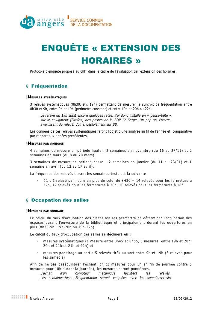 ENQUÊTE « EXTENSION DES                HORAIRES »  Protocole denquête proposé au GHT dans le cadre de lévaluation de lexte...