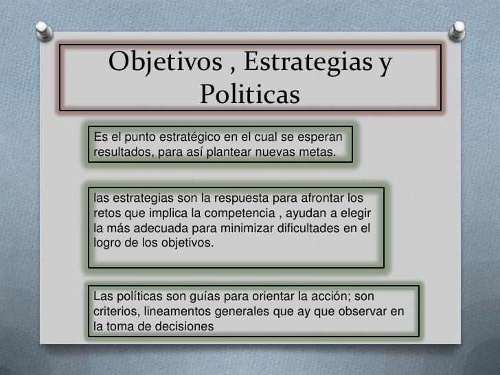 Objetivos , Estrategias y Politicas<br />Es el punto estratégico en el cual se esperan resultados, para así plantear nueva...