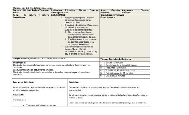 Planeaciónde didáctica de las cienciassociales Docente: Michael Andrés Zamorano Rojas Institución Educativa: Normal Superi...