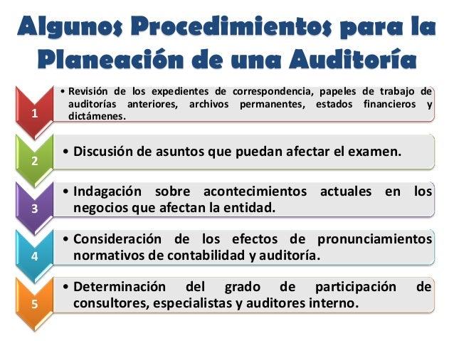 Algunos Procedimientos para laPlaneación de una Auditoría1• Revisión de los expedientes de correspondencia, papeles de tra...