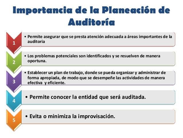 Importancia de la Planeación deAuditoría1• Permite asegurar que se presta atención adecuada a áreas importantes de laaudit...