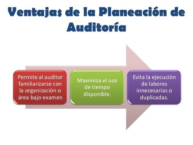 Ventajas de la Planeación deAuditoríaPermite al auditorfamiliarizarse conla organización oárea bajo examenMaximiza el usod...