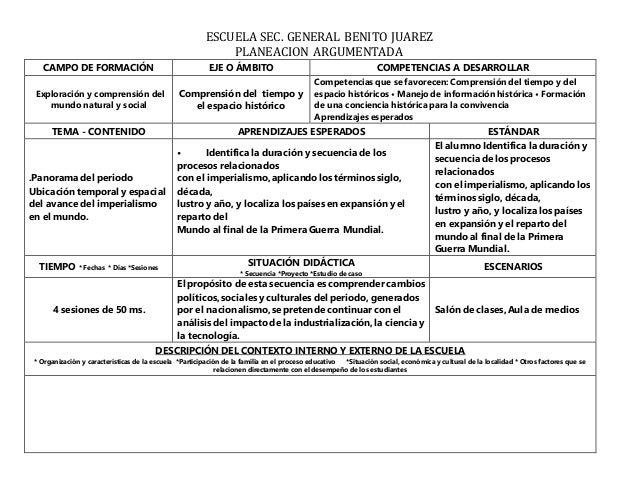 ESCUELA SEC. GENERAL BENITO JUAREZ PLANEACION ARGUMENTADA CAMPO DE FORMACIÓN EJE O ÁMBITO COMPETENCIAS A DESARROLLAR Explo...