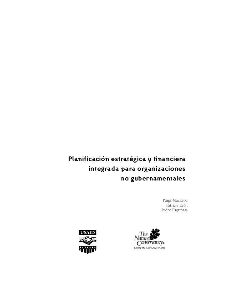 Planificación estratégica y financiera       integrada para organizaciones                 no gubernamentales             ...