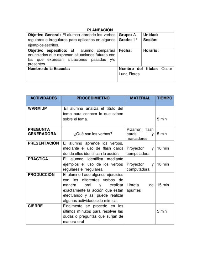 PLANEACIÓN Objetivo General: El alumno aprende los verbos regulares e irregulares para aplicarlos en algunos ejemplos escr...