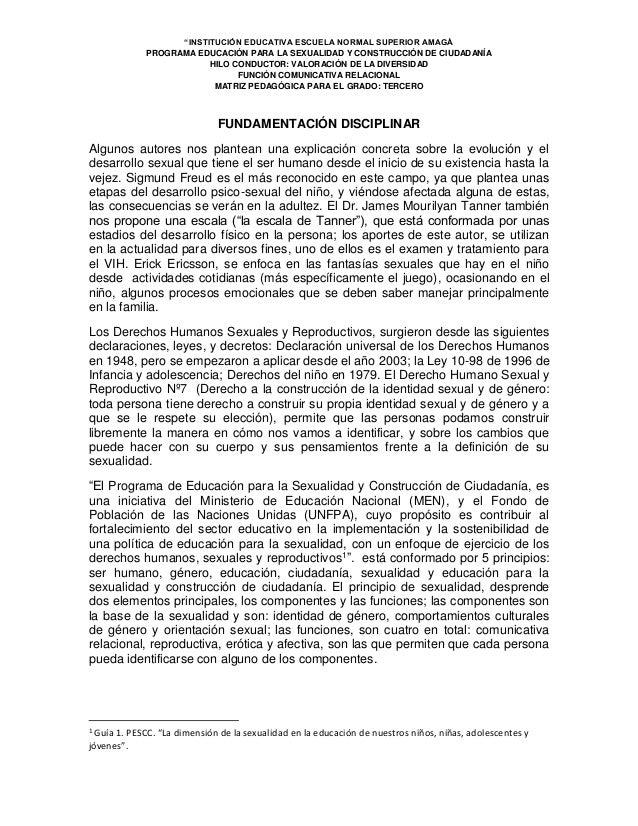 """""""INSTITUCIÓN EDUCATIVA ESCUELA NORMAL SUPERIOR AMAGÁ PROGRAMA EDUCACIÓN PARA LA SEXUALIDAD Y CONSTRUCCIÓN DE CIUDADANÍA HI..."""