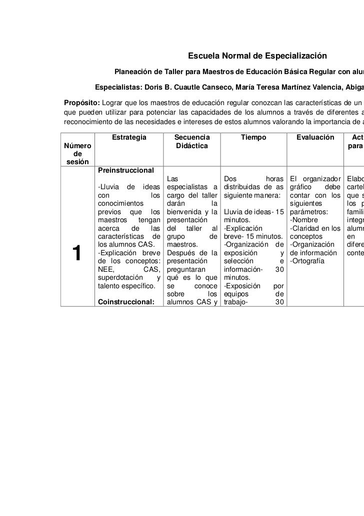 Escuela Normal de Especialización               Planeación de Taller para Maestros de Educación Básica Regular con alumnos...