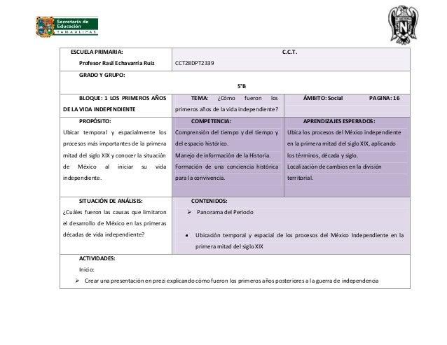 ESCUELA PRIMARIA:Profesor Raúl Echavarría RuizC.C.T.CCT28DPT2339GRADO Y GRUPO:5°BBLOQUE: 1 LOS PRIMEROS AÑOSDE LA VIDA IND...