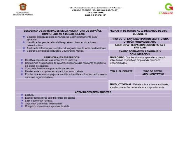 """""""2013 Año del Bicentenario de Sentimientos de la Nación""""ESCUELA PRIMARIA """"DR. GUSTAVO BAZ PRADA""""TURNO: MATUTINOGRADO: 5 GR..."""