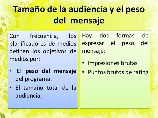 Tamaño de la audiencia y el peso del mensaje Con frecuencia, los planificadores de medios definen los objetivos de medios ...