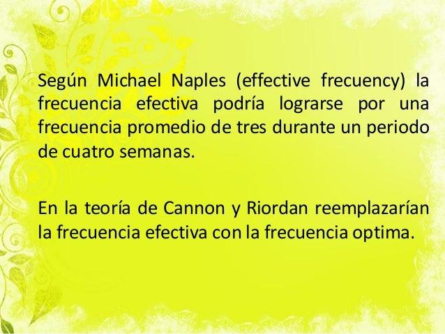Según Michael Naples (effective frecuency) la frecuencia efectiva podría lograrse por una frecuencia promedio de tres dura...