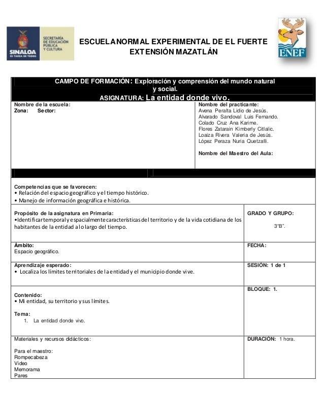 ESCUELANORMAL EXPERIMENTAL DE EL FUERTE EXTENSIÓN MAZATLÁN Nombre de la escuela: Zona: Sector: Nombre del practicante: Ave...