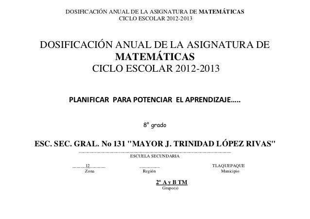 DOSIFICACIÓN ANUAL DE LA ASIGNATURA DE MATEMÁTICAS                      CICLO ESCOLAR 2012-2013 DOSIFICACIÓN ANUAL DE LA A...