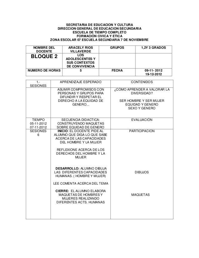 SECRETARIA DE EDUCACION Y CULTURA DIRECCION GENERAL DE EDUCACION SECUNDARIA ESCUELA DE TIEMPO COMPLETO FORMACIÓN CIVICA Y ...