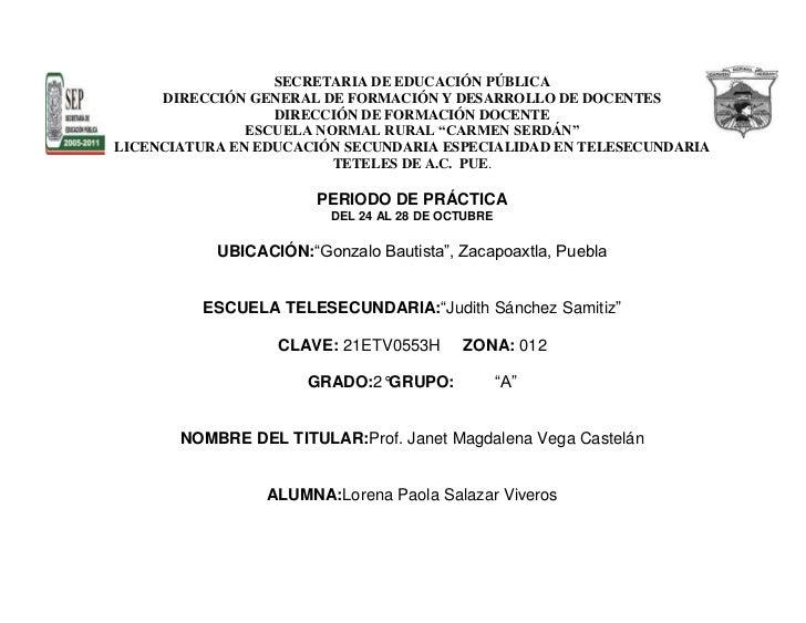 SECRETARIA DE EDUCACIÓN PÚBLICA     DIRECCIÓN GENERAL DE FORMACIÓN Y DESARROLLO DE DOCENTES                  DIRECCIÓN DE ...