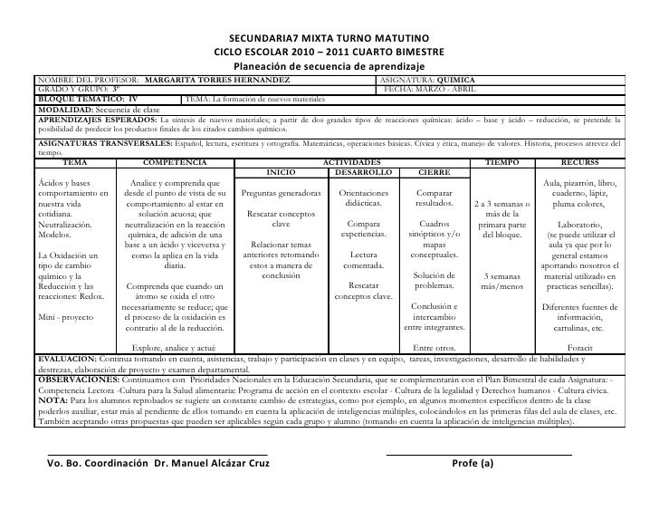 Planeacion 4 to bimestre quimica