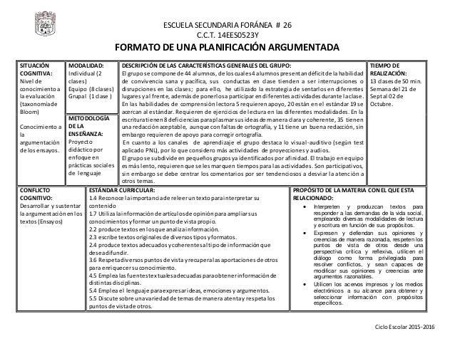 ESCUELA SECUNDARIA FORÁNEA # 26 C.C.T. 14EES0523Y CicloEscolar2015-2016 FORMATO DE UNA PLANIFICACIÓN ARGUMENTADA SITUACIÓN...