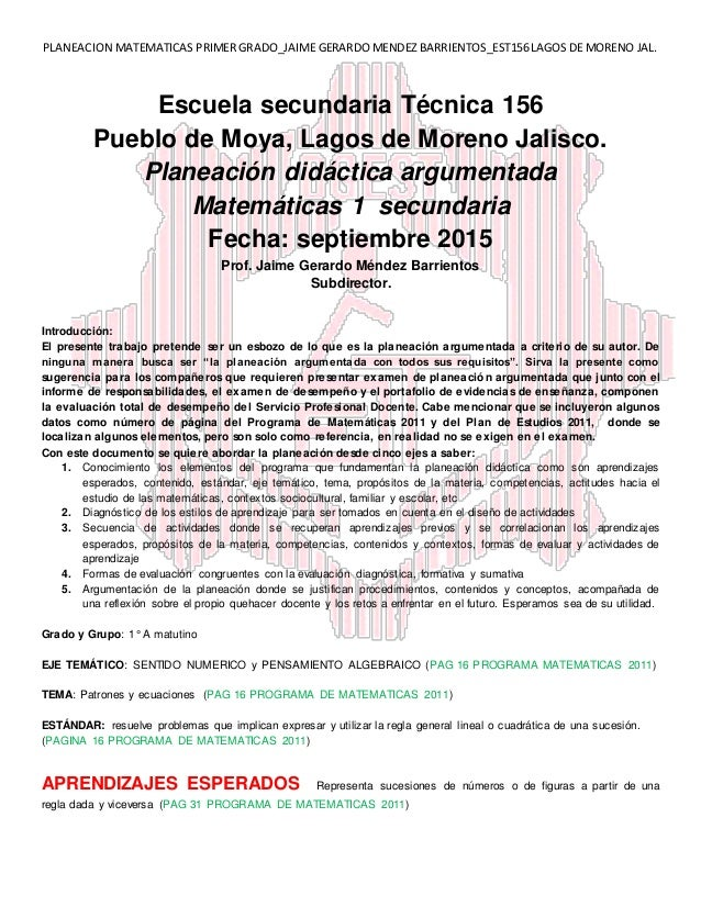 PLANEACION MATEMATICAS PRIMER GRADO_JAIME GERARDO MENDEZ BARRIENTOS_EST156 LAGOS DE MORENO JAL. Escuela secundaria Técnica...