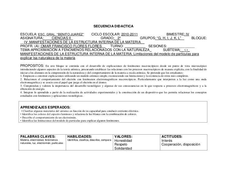 "SECUENCIA DIDACTICAESCUELA: ESC. GRAL. ""BENITO JUAREZ""   CICLO ESCOLAR: 2010-2011               BIMESTRE: IVASIGNATURA:   ..."
