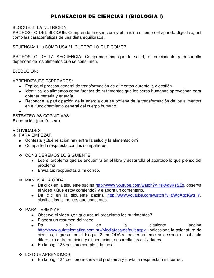 PLANEACION DE CIENCIAS I (BIOLOGIA I)<br />BLOQUE: 2  LA NUTRICION<br />PROPOSITO DEL BLOQUE: Comprende la estructura y el...