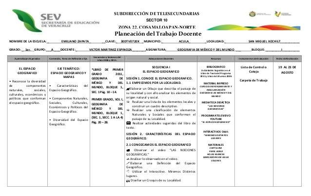 SUBDIRECCIÓN DE TELESECUNDARIAS SECTOR 10  ZONA 22, COSAMALOAPAN-NORTE  Planeación del Trabajo Docente NOMBRE DE LA ESCUEL...