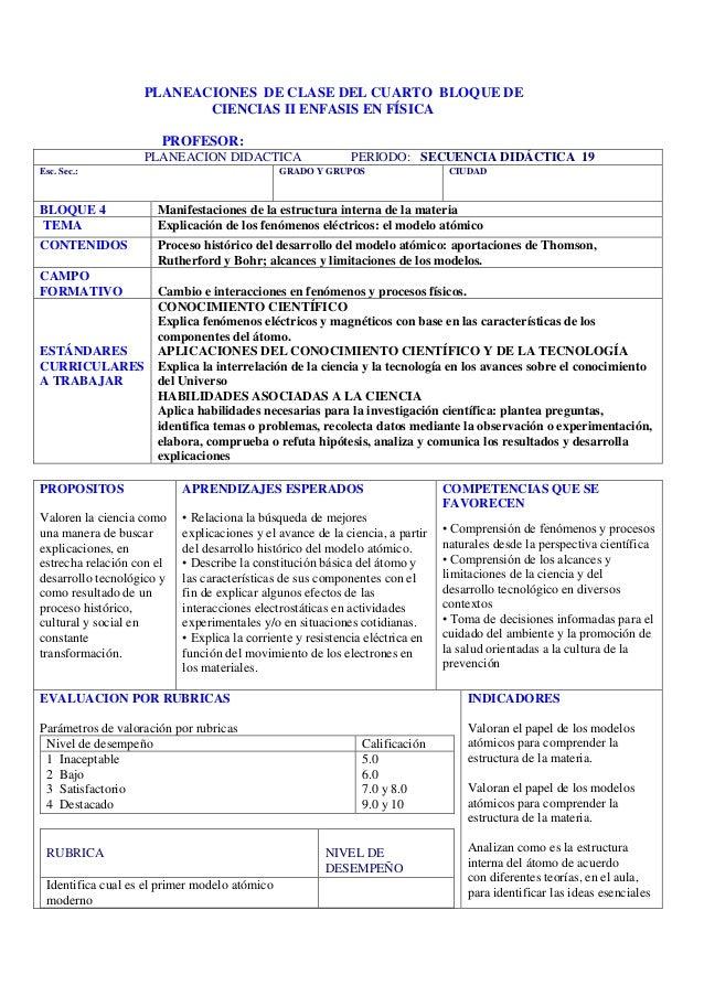 PLANEACIONES DE CLASE DEL CUARTO BLOQUE DE                          CIENCIAS II ENFASIS EN FÍSICA                       PR...
