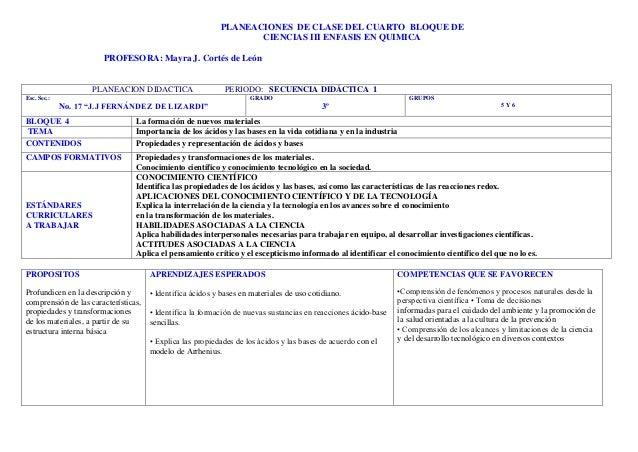 PLANEACIONES DE CLASE DEL CUARTO BLOQUE DE                                                                CIENCIAS III ENF...