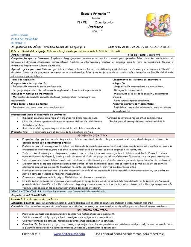 """Editorial MD www.editorialmd.com ¡Una Editorial hecha por maestros, para maestros! Escuela Primaria """""""" Turno CLAVE Zona Es..."""