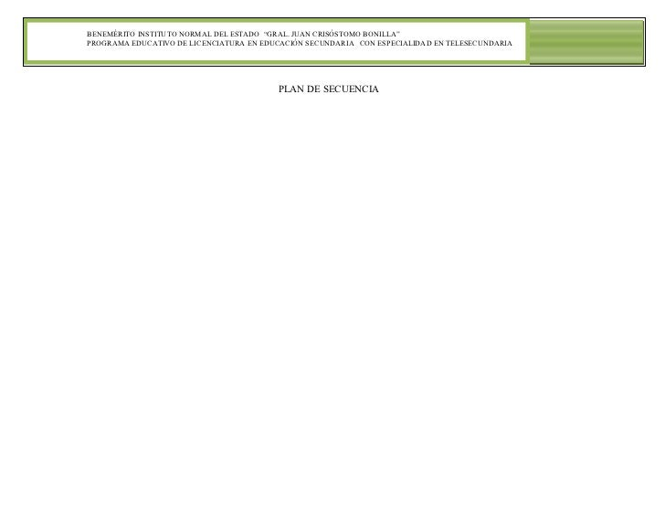 """BENEMÉRITO INSTITUTO NORMAL DEL ESTADO """"GRAL. JUAN CRISÓSTOMO BONILLA""""PROGRAMA EDUCATIVO DE LICENCIATURA EN EDUCACIÓN SECU..."""