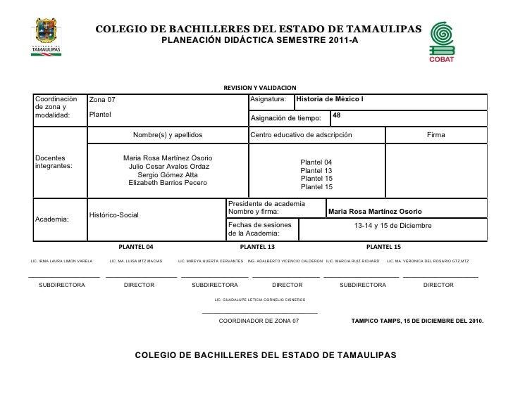 COLEGIO DE BACHILLERES DEL ESTADO DE TAMAULIPAS                                                         PLANEACIÓN DIDÁCTI...