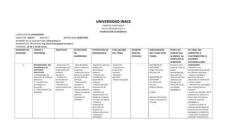 UNIVERSIDAD INACE<br />CAMPUS ZUMPANGO<br />CICLO ESCOLAR 2011-1<br />PLANEACION ACADÉMICA<br />LICENCIATURA: PEDAGOGÍA<br...