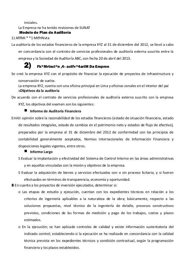 iniciales. La Empresa no ha tenido revisiones de SUNAT .Modelo de Plan de Auditoría 1) AflfMI * *1 MtfHNvta La auditoría d...
