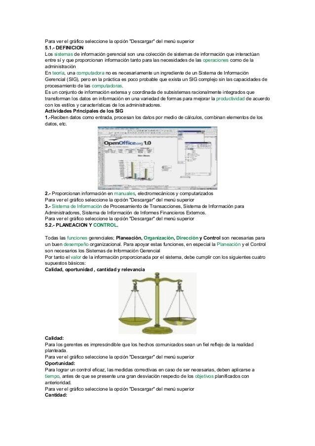 """Para ver el gráfico seleccione la opción """"Descargar"""" del menú superior 5.1.- DEFINICION Los sistemas de información gerenc..."""
