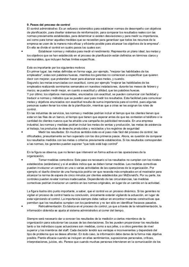 9. Pasos del proceso de control El control administrativo: Es un esfuerzo sistemático para establecer normas de desempeño ...